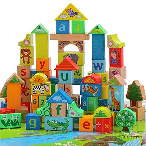 Rain City 2019 Bâtiment Jungle Animal Enfants Blocs, 88 Blocs en Bois avec Alphanumeric additions, soustractions, multiplications et des additions, Puzzle forêt pour Les Enfants de Plus de 3 Ans