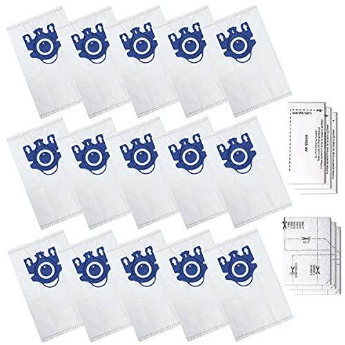 Zibopon Ersatz GN Staubsaugerbeutel für Miele Typ GN Airclean 3D Efficiency Staubbeutel, kompatibel mit Miele S2, S5, S8, Classic C1, Complete C2 Complete C3 Serie (15 Beutel & 3 Filter)