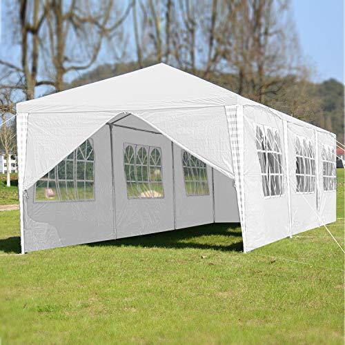 VINGO 3x9m Pavillon Wasserdicht Gartenpavillon weiß Stabiles Partyzelt Festzelt mit 8 Seitenteile Material PE-Plane für Garten Festival Party - 6