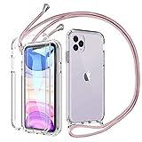 Mkej 360 Grad Handykette Hülle kompatibel mit iPhone 11 Pro, Hybrid R&um Doppel-Schutz Cover Smartphone Necklace Handyhülle mit integriertem Bildschirmschutz [Einteiliges Design] - Roségold