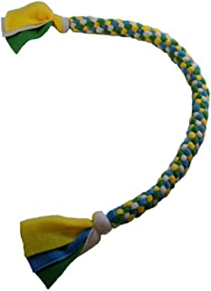 Trine, Inc. Handmade Fleece Dog Rope, Handwoven Large Dog Tug Rope, 2-Knot Multicolor Large Dog Pull Toy – Blue, Green, Yellow, White