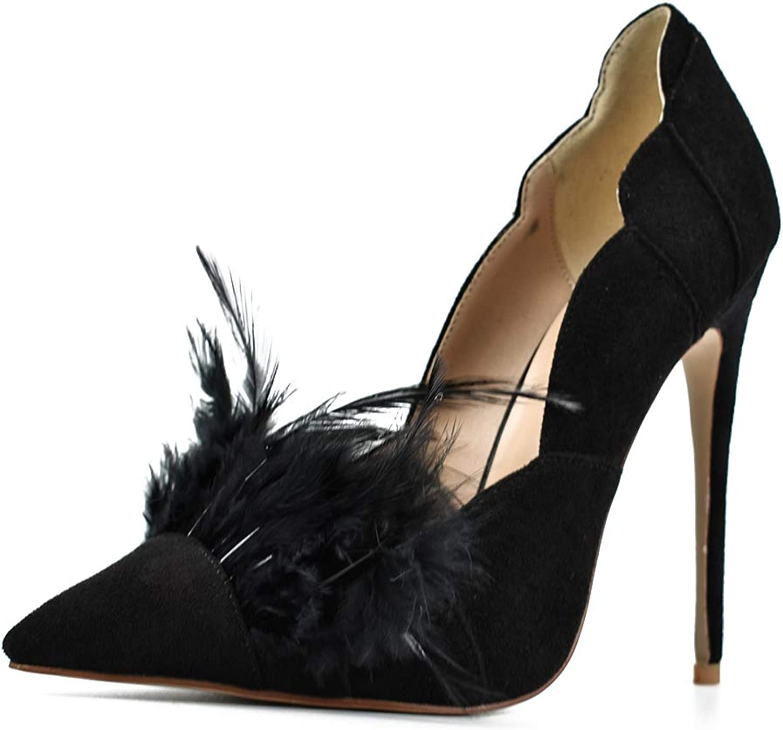 DoraTasia Women's Fashion Slip on High Heels Pumps Sexy Pointed Toe Stiletto Dress shoes