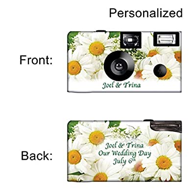 5 White Daisies Custom Disposable Cameras, Can be Personalized, Single Use, Flowers by CustomCameraCollection