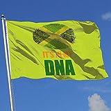 qinzuisp Bandera del Jardin Jamaicano Está En Mi ADN Bandera De Jamaica Césped De Poliéster para Patio Trasero Bandera De Brisa Decorativa Bandera De Patio Bandera De Casa 150X90Cm