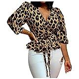 Sonnena Women Leopard Print Tops Long Sleeve O-Neck Casual T Shirt Tees Casual Leopard Print Tops Blouse Print Blouse