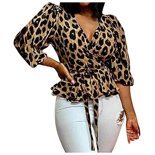 Xiangdanful Tshirt Damen Leopardenmuster Tops Hemd V-Ausschnitt Langarm Oberteile Hemdbluse Druck Kurzarm Bluse Lose Atmungsaktives Bluse Langarmshirt