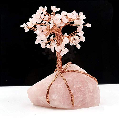 Estatua impresionante casa jardín ornamento escultura decoración rosa cristal dinero árbol feng shui ornamento, hecha a mano cristal grava natural rosa cristal base fortuna árbol estatuilla árbol de v