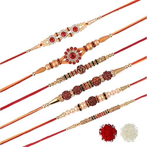Efulgenz Rudraksh Rakhi Indian Raksha Bandan - Pulsera de perlas de imitación para hermano (6 unidades)