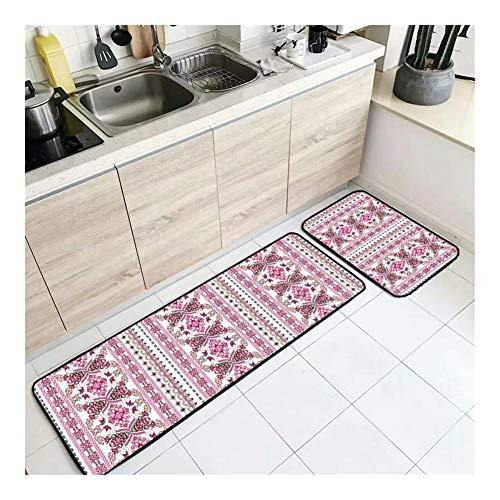 JINIUYX Hauptküche Rote Blumen-ethnische Art Küche Mat Eintrag Mat Schlafzimmer Streifen Bett Decke (Color : K92, Size : 40 * 120)