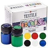 Decola Set Pintura Textil Acrilica | 6x20ml Colores Por Ropa Resistentes En Lavadora | Hechos En Rusia da Neva Palette