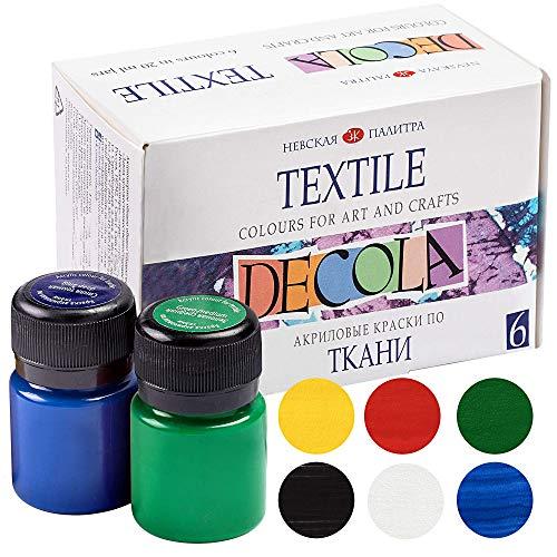 Nevskaya Palitra Textilfarbe Set | 6 x 20 ml | Stoffmalfarben waschfest | Qualität von Decola