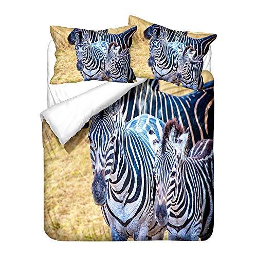 3D Girl Boy Cartoon Animal Zebra Bedding Set Duvet Cover and Pillowcase, 2/3 Pieces Soft Warm Non-iron Duvet Cover with Zipper Microfiber Polyester (Multi 5,Double 200 x 200cm)