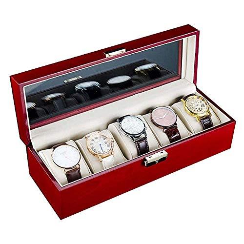 CHENXU Watch Display Storage Box Storage Box, Sleek Minimalist Wooden Paint Watch Box 5 Watch Slot Wooden Watch Box Storage Box, Wine Red Watch Box Storage Box
