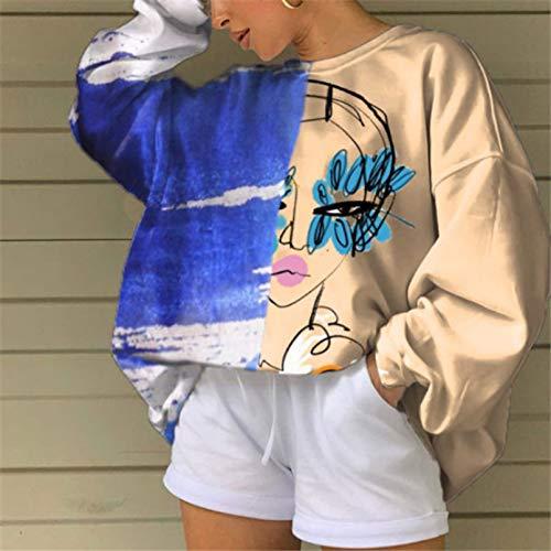 PKYGXZ Moda para Mujer Pullover Sudadera Tops Pintado a Mano Impreso Manga Larga Cuello Redondo Camiseta Casual Jumpers Suéter Chándal