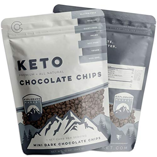 Mini Dark Chocolate Chips 2 Pack 12 Oz Healthy, Low-Carb Keto Snacks for Weight-Loss, Dieting, Baking Vegetarian, Vegan, Kosher, Gluten Soy Dairy & Sugar-Free, Non-GMO Balanced Sweetness & Cacao Taste