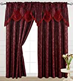 V Luxury Jacquard Curtain Panel with Attached Waterfall Valance, 54 by 84-Inch Ashley Burgundy