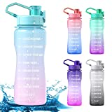 Y&3 64oz Half Gallon Water Bottle with Straw & Time Marker, Leakproof, BPA Free Tritan Water Jug, Motivational Water Bottle with Handle, For Outdoor, Fitness, Gym (Green/Pink Gradient, 64oz)