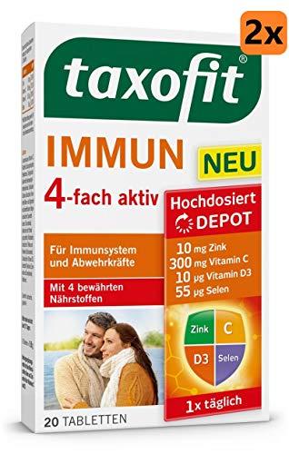 taxofit® Immun 4-fach aktiv für Immunsystem und Abwehrkräfte (Doppelpackung mit 2 x 20 Tabletten)