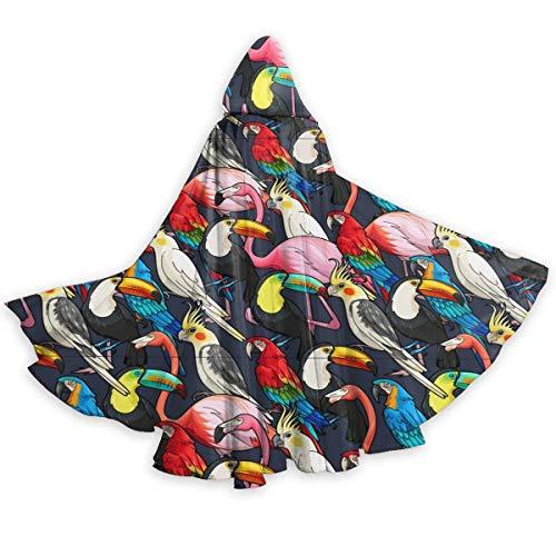 Inner-shop Imagen Vectorial de Aves exóticas sin Costuras Capa con Capucha Unisex Capa de Disfraz de Cosplay de Fiesta de Halloween para Adultos