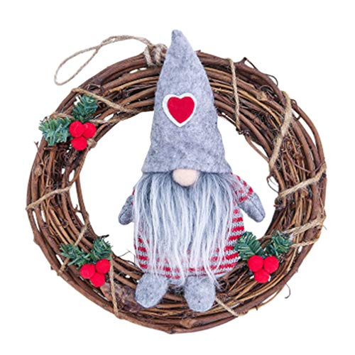 LIOOBO - Ghirlanda di Natale da appendere, per feste di Natale, porta di ingresso dell'albero di Natale all'aperto