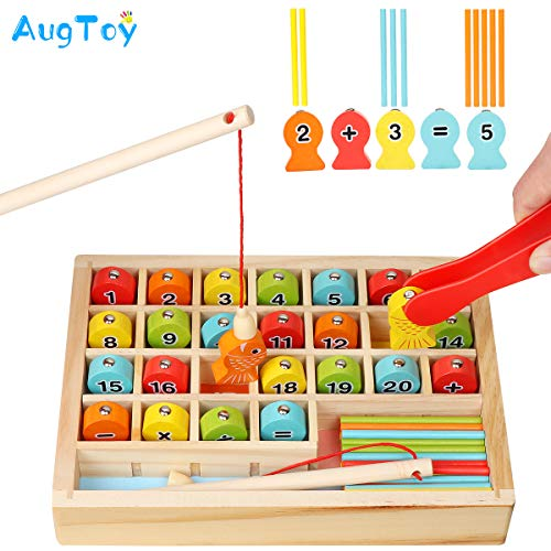 Wooden Magnetic Fishing Math Game, Montessori Toys Learning Fine Motor Skills Color Sorting Number Counting Preschool Education with 2 Fishing Poles 1 Clamp for Toddler Kids Age 2 3 4 5 6 Years Old