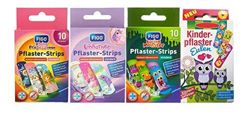Kinderpflaster/Pflaster/Stripes für Kinder im Set - mit tollen bunten Motiven - wählbar: Kunterbunt – Prinzessin – Einhorn – Tiere - Cartoon/für Mädchen Kunterbunt