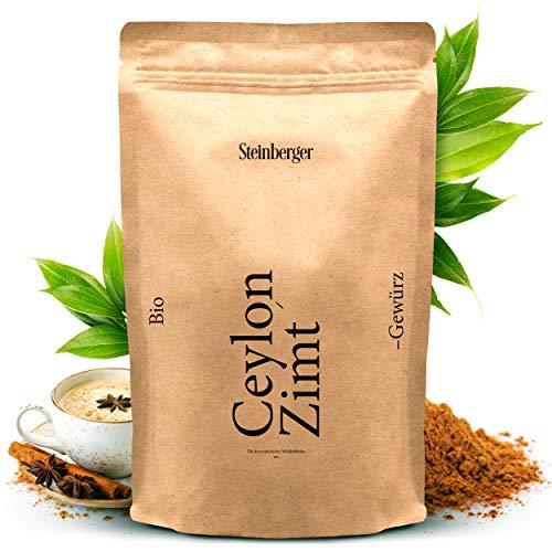 Premium Bio-Zimt von Steinberger Typ Ceylon | 100% naturreines gemahlenes Zimtpulver – 250 g | Zum Kochen & Backen, für Tee & Golden Milk u.v.m.