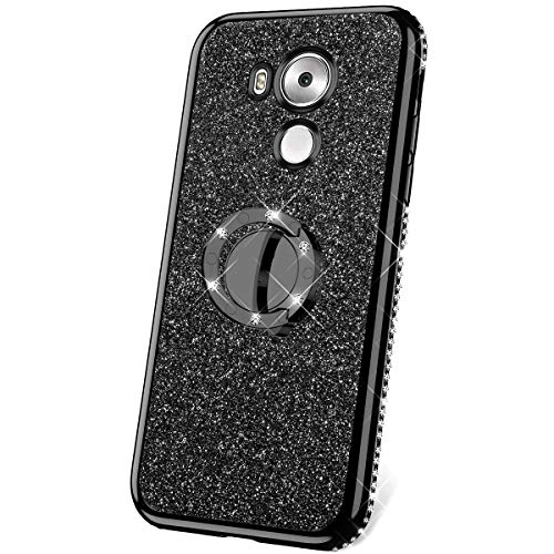 JAWSEU Funda Compatible con Huawei Mate 8 Brillante Brillo Suave Silicona TPU Gel Parachoques Funda con Anillo Bling Diamantes Ultra-Delgada Enchapado Transparente Protectora Carcasa,Negra