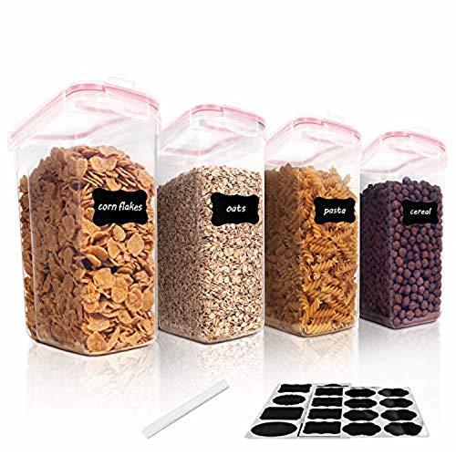 Vtopmart 4L Recipientes para Cereales Almacenamiento de Alimentos, Jarras de Almacenamiento de Plástico con Tapa Hermética Sin BPA,Juego de 4 + 24 Etiquetas, para harina,café (Rosado)