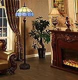 Tiffany Stehlampe Modern Wohnzimmer Blau Retro, Buntglas Mediterraner Stil Glas Lampenschirm...