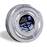 [75 Pack] Aluminum Foil Stove Burner Covers 7.5 Inch - Disposable Round Oil Drip Pans, Liner for...