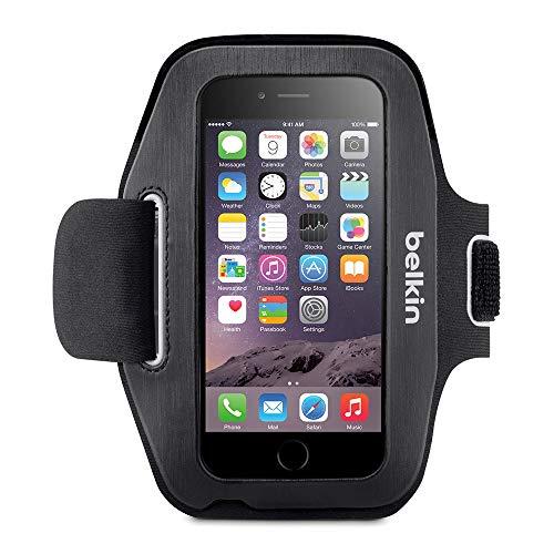 Belkin Sport Fit Sport-Armband (atmungsaktives Neoprenmaterial und verstellbarer Riemen, geeignet für iPhone 6/6s) schwarz/weiß