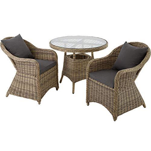 TecTake 800826 Conjunto de ratán Zúrich con Dos sillones, Set de Muebles de jardín, Conjunto de Mesa y sillas de poliratán, Mobiliario de Exterior (Natural)