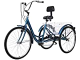 Slsy Adult Tricycles 7 Speed, Adult Trikes 20/24 / 26 inch 3 Wheel Bikes, Three-Wheeled Bicycles Cruise Trike with Shopping Basket for Seniors, Women, Men. (Peacock Blue, 24' Wheels/ 7-Speed)