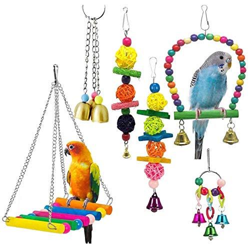 Bird Toys Hängende Schaukel Zerkleinern Kauen Barsche Papagei Spielzeug für Käfig Conures Sittiche Nymphensittiche Macaws Finken Mynah Wellensittiche (Colorful, 6)