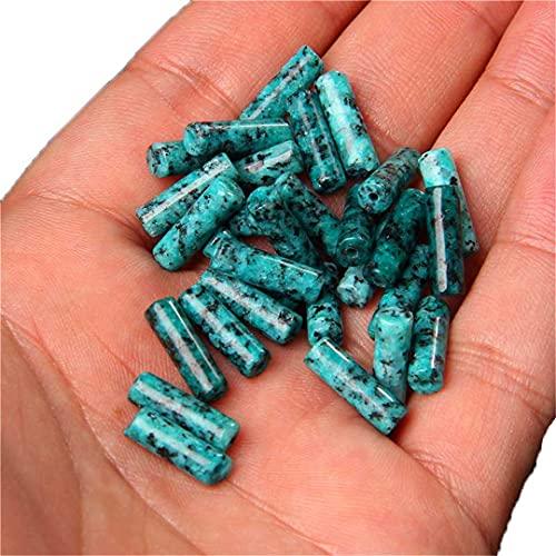 15 unidades / lote 4 x 13 mm forma cilíndrica cuentas de piedra Jasper espaciadas para hacer joyas Diy Charms Pendiente Pulsera Collar Malaquita Jasper 4 x 13 mm aproximadamente 28 piezas