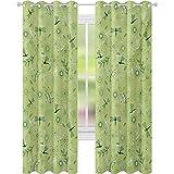 Cortinas opacas impresas, flores y libélulas para niños y niñas, imagen inspiradora de la temporada de primavera, cortinas de 52 x 95 para habitación de bebé, verde pistacho