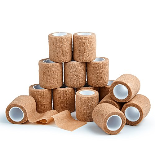 15 Bulk Pack Self Adherent Cohesive Wrap Bandages 2 Inches X 5 Yards, Self Adhesive Rolls for Swelling Sprains and Soreness On Wrist and Ankle (15)
