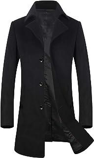 ELETOP Men's Wool Coats Single Breasted Trench Coat Winter Jacket KEMCT