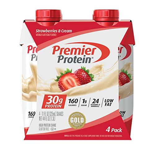 Premier Protein 30g Shakes Strawberries Cream 11 Fluid Ounces , Strawberry Shake , 44 Fl Oz, (Pack of 4)