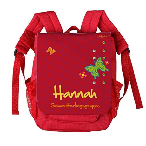 Striefchen® Rucksack für Kinder in Rot mit Schmetterling und Wunschnamen sowie Kita-Gruppe