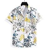 Shirt Playa Hombre Básica Cuello Kent Hombre T-Shirt Verano con Botones Transpirables Estampada Manga Corta Hombre Shirt Trend Hawaii Hombre Shirt Ocio A-White1 L