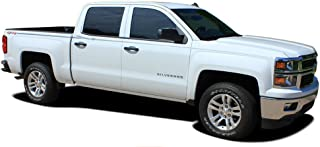 ELITE : 2014 2015 2016 2017 2018 Chevy Silverado and GMC Sierra Upper Body Line Pin Striping Style Vinyl Graphic Decal Stripes (FITS 143.5 inch Wheelbase or Less) (Color-3M 5095 Matte Black)