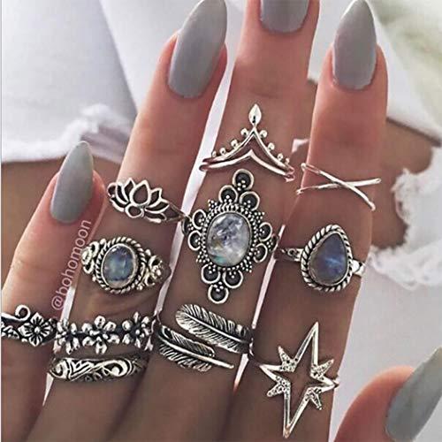 Yean - Juego de anillos para nudillos estilo vintage plateados, anillos para mujeres y chicas (11 piezas) (R2)