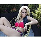 Rita Ora Sitting Legs Extended Bare Midriff Smiling Brightly 8 x 10 Inch Photo
