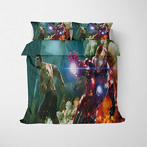 ASDZXC Iron Man - Juego de funda de edredón y funda de almohada con cremallera para decoración de habitación, microfibra suave y cómoda, lavable a máquina (A,220 x 260 cm)