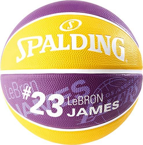 Spalding - Pallone da Basket NBA, Giocatore Lebron James SZ.7 (83-848Z), Unisex, Colore Viola/Giallo, 7