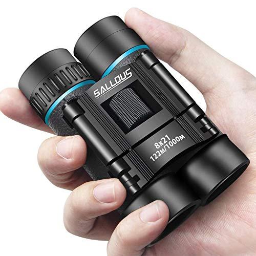 Compact Binoculars, Small Lightweight Binocular for Adults & Kids, Binoculars for Bird Watching Traveling Hiking Wildlife Outdoor, Easy Focus Folding Binoculars for Opera Concert (8X21 Roof Prism)