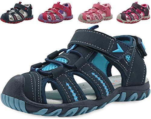 Nasonberg Sandalen Mädchen Jungen Sandalette Trekkingsandalen Kinder Schuhe Sommer Strandschuhe mit Klettverschluss, Blau 30 EU