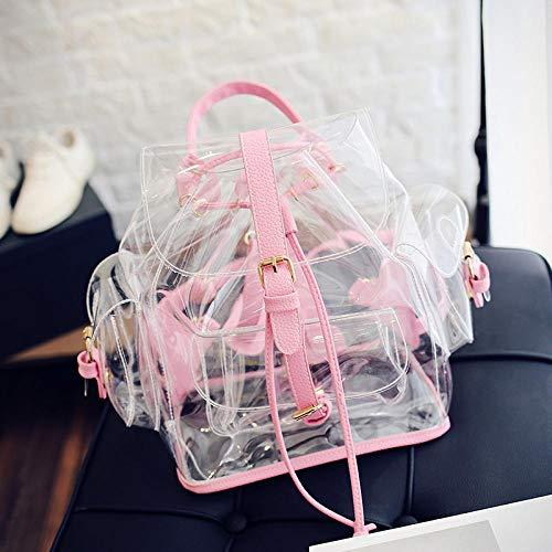 QAQA Lady Mochila PVC Transparente Hombro Bolsa Verano Mujer Plastic Jelly Mochila Travel Pink Bag For Girl-Pink